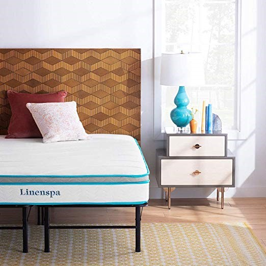 Linenspa 8 Inch Memory Foam and Innerspring Hybrid Mattress - Medium-Firm Feel – Queen